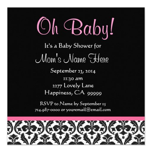 Cute Black White Feather Pink Damask Baby Shower 5.25x5.25