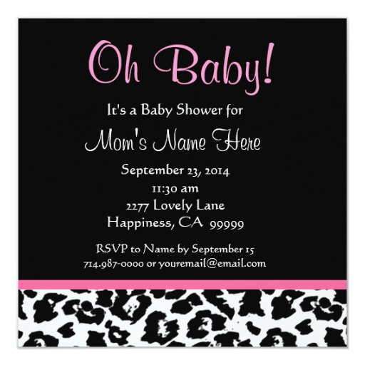Cute Black White Pink Leopard Print Baby Shower Invitation
