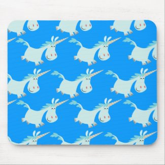 Cute Blue Cartoon Unicorn Herd!! mousepad mousepad