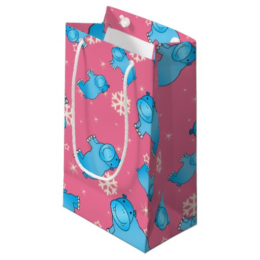 Cute blue hippo christmas pink snowflakes small gift bag ...
