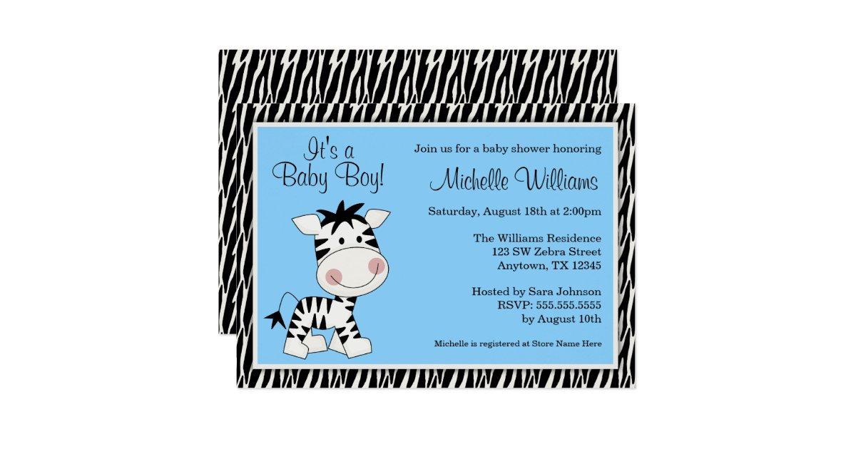 Cute Blue Zebra Boy Baby Shower Invitations   Zazzle