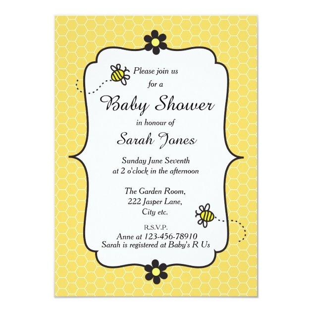 Personalized Bumble Bee Baby Invitations Custominvitations4u Com