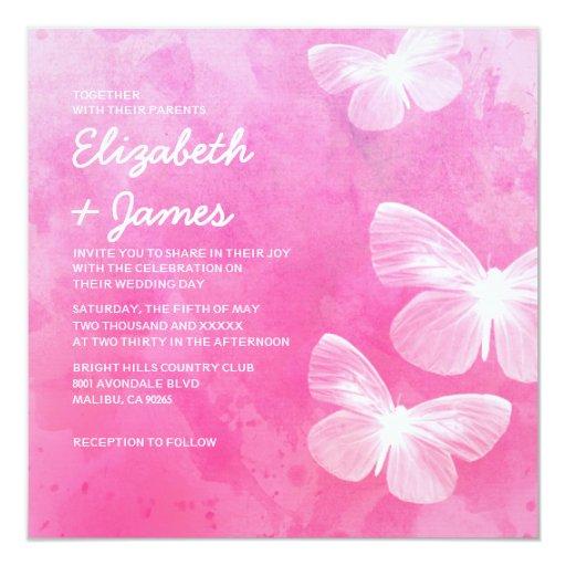 Cute Wedding Invitation Wording Samples: Cute Butterflies Wedding Invitations