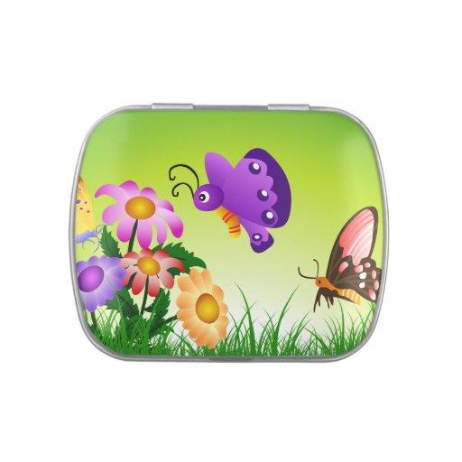 Garden Cute Cartoon: Cute Butterfly Garden Cartoon Jelly Belly Candy Tins