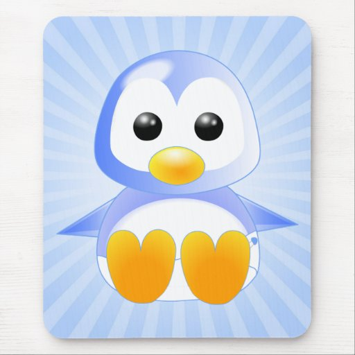 Cute Cartoon Baby Penguin in Blue Mouse Pad | Zazzle