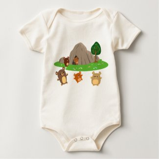 Cute Cartoon Bears in a Cave Baby Apparel shirt