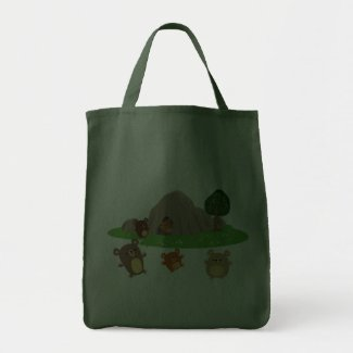 Cute Cartoon Bears in a Cave Bag bag