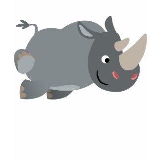 Cute Cartoon Charging Rhino Children T-Shirt shirt