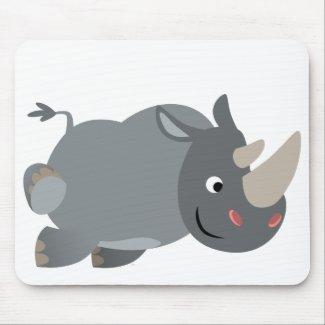Cute Cartoon Charging Rhino Mousepad mousepad