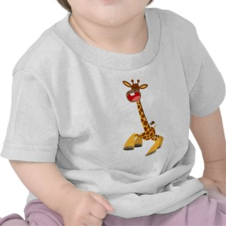 Cute Cartoon Dancing Giraffe Baby T-Shirt shirt