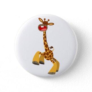 Cute Cartoon Dancing Giraffe Button Badge button