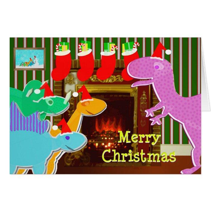 Cute Cartoon Dinosaurs Fireplace Christmas Card on PopScreen