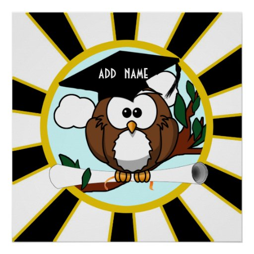 Graduation Owl W/ School Colors Black And Gold Posters