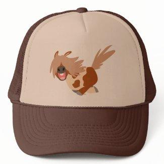 Cute Cartoon Happy Pinto Pony Trucker Hat hat