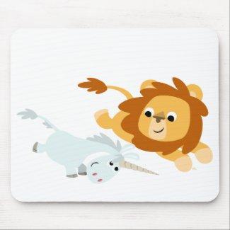 Cute Cartoon Lion and Unicorn mousepad mousepad