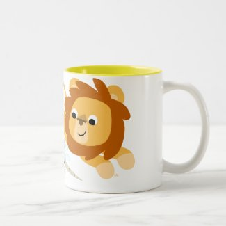 Cute Cartoon Lion and Unicorn mug mug