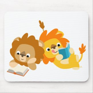 Cute Cartoon Lion Readers mousepad mousepad