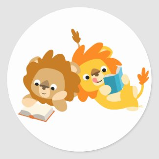 Cute Cartoon Lion Readers sticker sticker