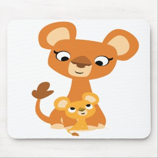 Cute Cartoon Mother Lion and cub mousepad mousepad