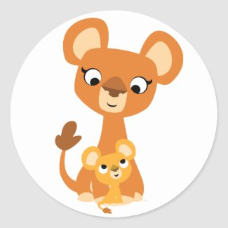 Cute Cartoon Mother Lion and cub sticker sticker