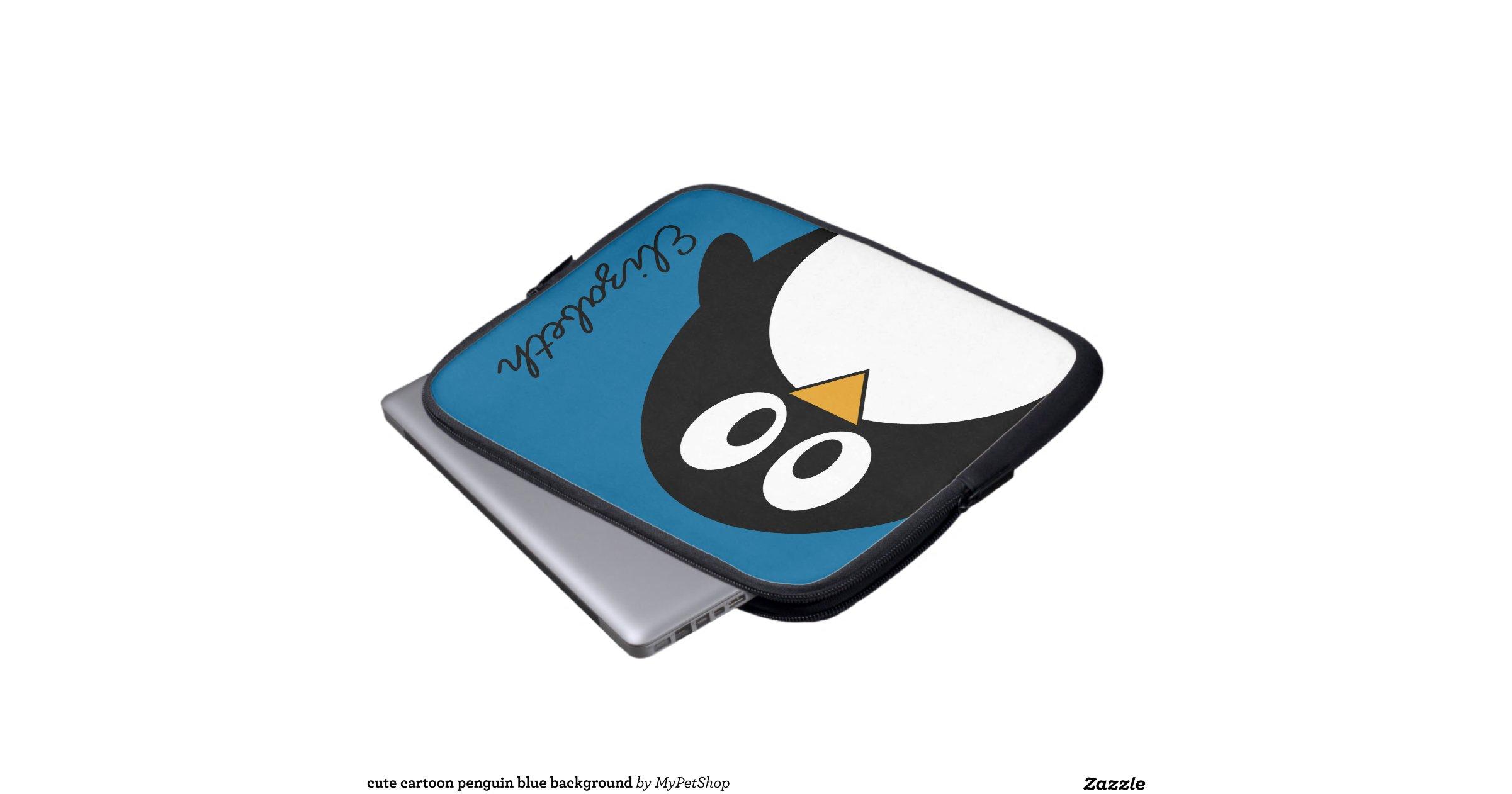 cute cartoon penguin blue background laptop sleeves | Zazzle