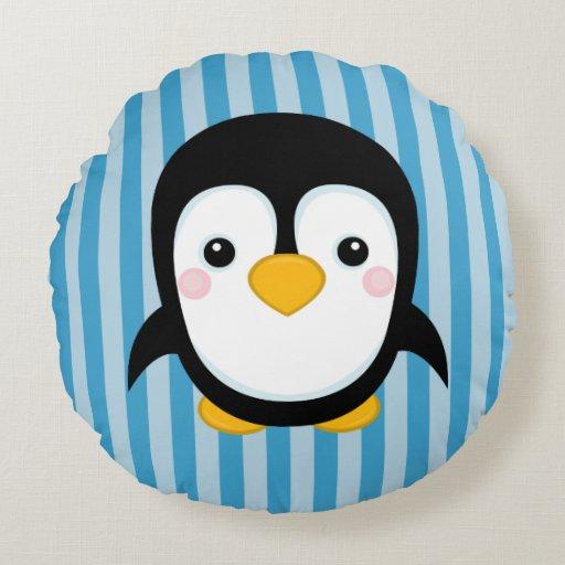 Cute Cartoon Penguin Design Blue Stripes Pattern Round ...