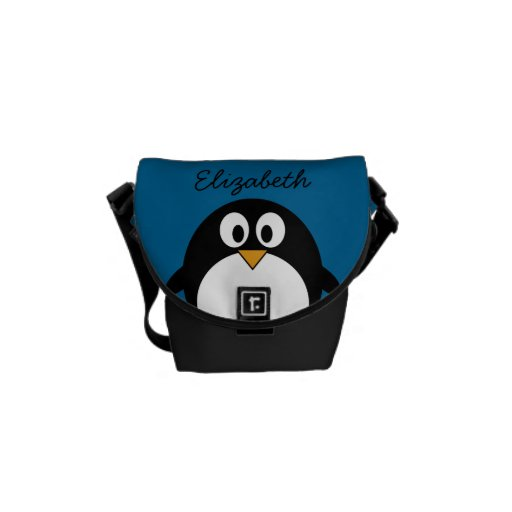 cute cartoon penguin with blue background messenger bags ...