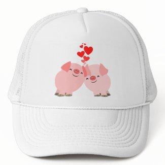Cute Cartoon Pigs in Love Hat hat