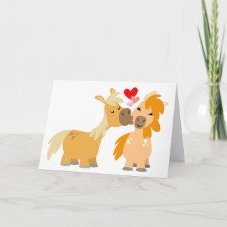 Cute Cartoon Ponies in Love greeting card card
