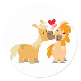 Cute Cartoon Ponies in Love sticker sticker