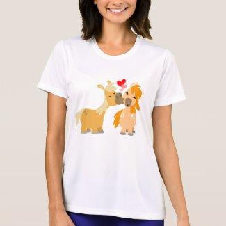 Cute Cartoon Ponies in Love Women T-shirt shirt