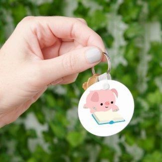 Cute Cartoon Reading Piglet Keychain keychain