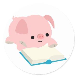 Cute Cartoon Reading Piglet Sticker sticker