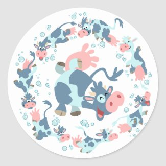 Cute Cartoon Sea Cows sticker sticker