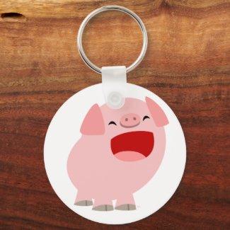 Cute Cartoon Singing Pig Keychain keychain