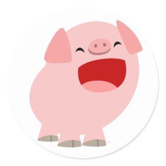 Cute Cartoon Singing Pig Sticker sticker