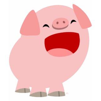 Cute Cartoon Singing Pig Women T-Shirt shirt