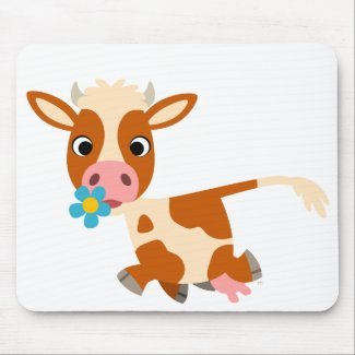 Cute Cartoon Trotting Cow Mousepad mousepad