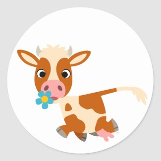 Cute Cartoon Trotting Cow Sticker sticker