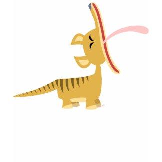 Cute Cartoon Yawning Thylacine Women T-Shirt shirt