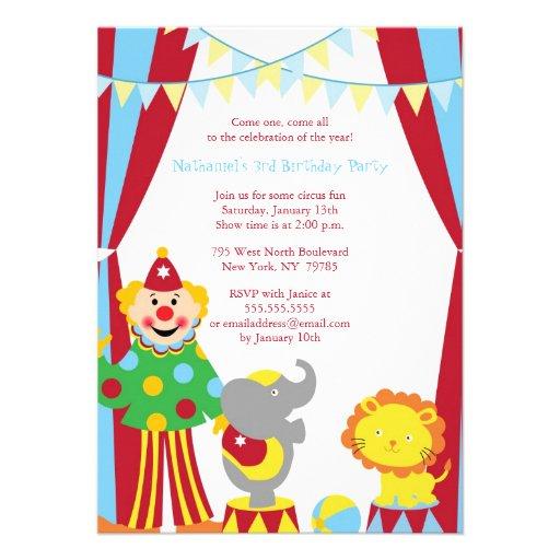 Cute Circus Theme Boy Birthday Party Invite