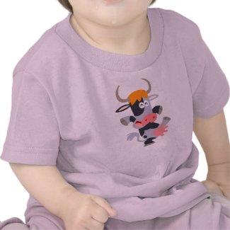 Cute Dancing Cartoon Cow Baby T-Shirt