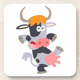 Cute Dancing Cartoon Cow Coaster Set
