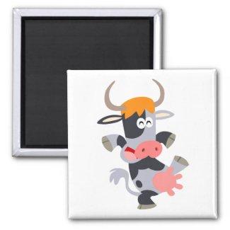 Cute Dancing Cartoon Cow Magnet