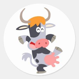 Cute Dancing Cartoon Cow Sticker