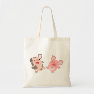 Cute Dancing Cartoon Pigs Bag bag