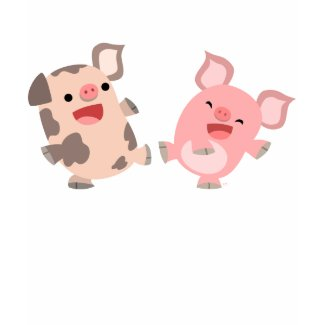 Cute Dancing Cartoon Pigs Women T-Shirt shirt