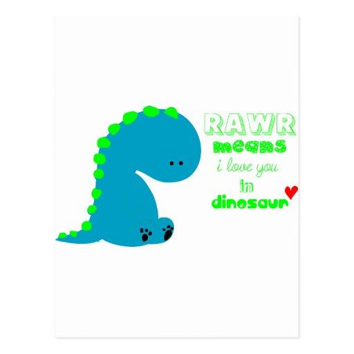 Cute Dinosaur RAWR Postcard   Zazzle