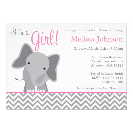 Gianna S Pink And Gray Elephant Nursery Reveal: Cute Elephant Chevron Pink Baby Shower Invitation