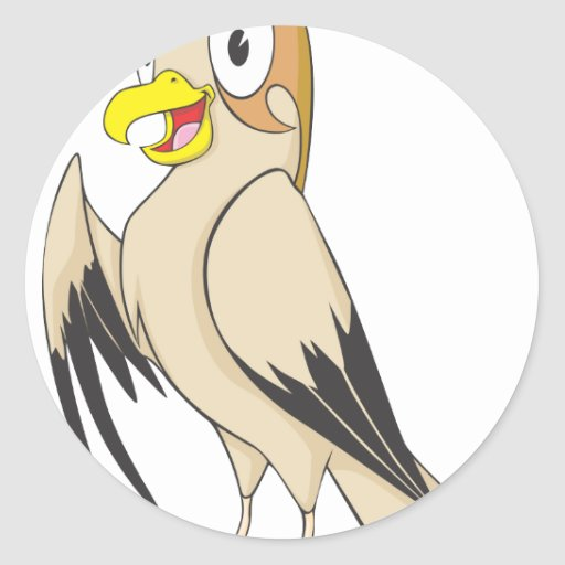 cute falcon bird brown cartoon shirt sticker zazzle